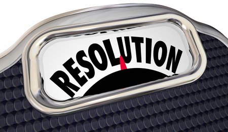 will power: Resolution Word Scale New Year Promise Commitment Lose Weight Stock Photo