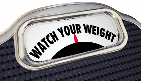 regimen: Watch Your Weight Scale Lose Pounds Diet Healthy Lifestyle 3d Words Stock Photo