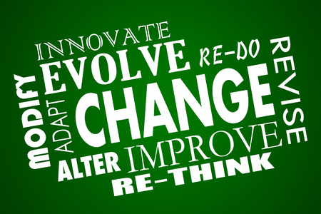 modifying: Change Adapt Evolve Improve Revise Rethink Word Collage Stock Photo