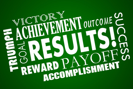accomplishing: Results Outcome Rewards Goal Accomplished Word Collage Stock Photo