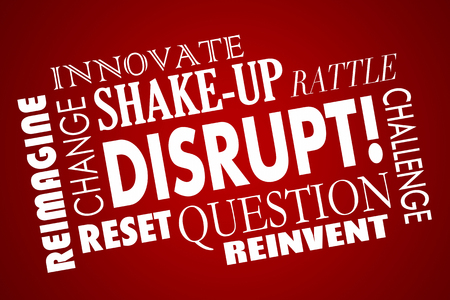 Verstoren Change Innovate New Business Product Concept Word Collage Stockfoto