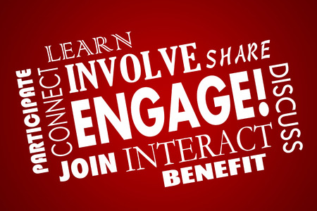 Engage Involve Participate Join Interact Word Collage Banco de Imagens