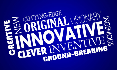 groundbreaking: Innovative Creative Cutting Edge Improved New Product Word Collage