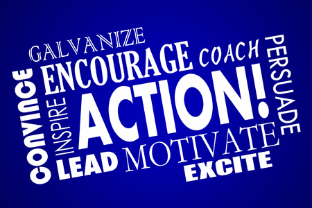 persuade: Action Encourage Motivate Inspire Lead Coach Word Collage