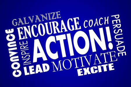 galvanize: Action Encourage Motivate Inspire Lead Coach Word Collage