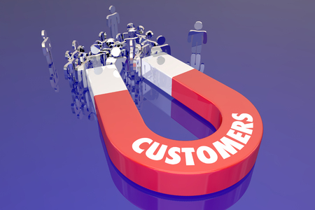 Customers Magent Attracting New People Prospects Word 스톡 콘텐츠