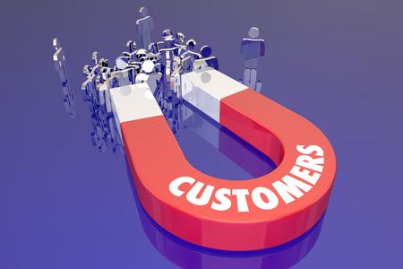 Customers Magent Attracting New People Prospects Word Foto de archivo