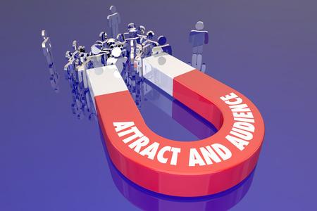 Attirer un public Événement Spectacle Site Web Foule Magnet Clients Mots Banque d'images
