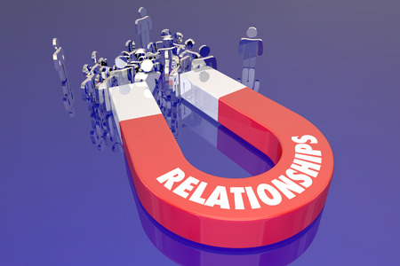 associates: Relationships Magnet Pulling People Friends Family Together Word