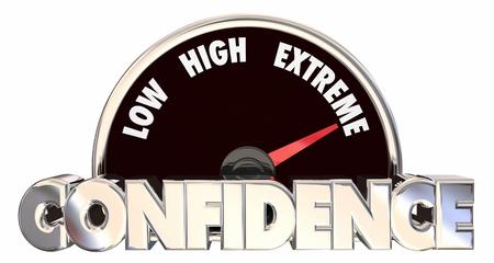 certainty: Confidence High Belief Faith Good Attitude Outlook Speedometer 3d Stock Photo