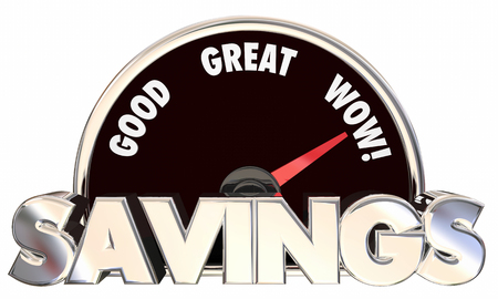 saved: Savings Speedometer 3d Words Money Saved Best Prices Offers