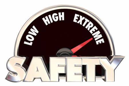 safest: Safety Security Words Gauge Measure Maximum Protection 3d Stock Photo