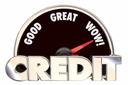 borrowing: Credit Score Rating Speedometer Good Great Improved Borrow Loan Banking Number