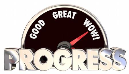 Progress Forward Movement Momentum Measure Advancing Results 3d Words