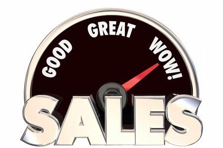 Sales grote toename Verbeterde Revenue Money Deals Snelheidsmeter 3d Woorden