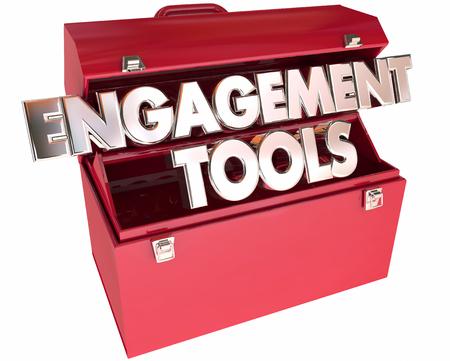 Verpflichtungs-Werkzeuge Werkzeugkasten Wörter 3d Interaktion Teilnahme Kommunikation Standard-Bild - 56097737