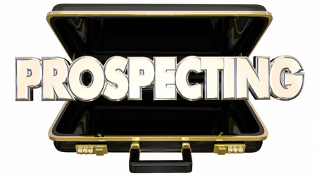 prospecting: Prospecting Find New Customers Sell Sales 3d Words Briefcase