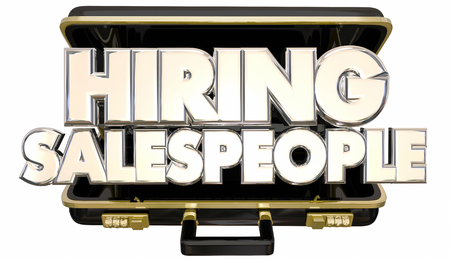 salespeople: Hiring Sales People Job Help Wanted Briefcase 3d Words Stock Photo