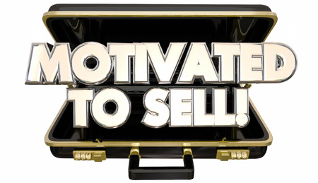 sales person: Motivated to Sell Sales Person Briefcase Attitude Ambition 3d Words Stock Photo