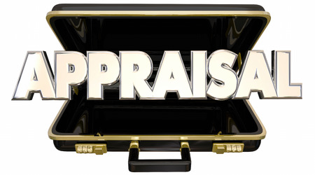 evaluated: Appraisal Evaluation Assessment Rating Worth Value Price Cost Briefcase Stock Photo