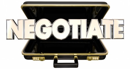 settling: Negotiate 3d Word Briefcase Sale Deal Agreement Terms Stock Photo