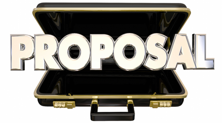 persuade: Proposal Presentation 3d Words Briefcase Sales Pitch Stock Photo