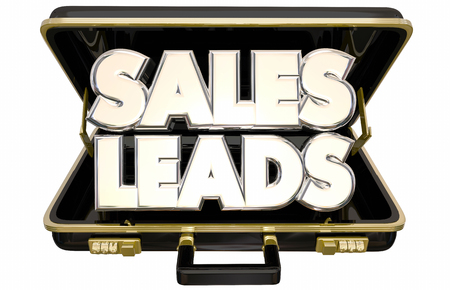 persuading: Sales Leads New Selling Prospects Customers Briefcase 3d Words