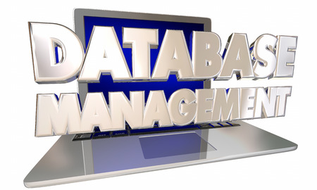 communication industry: Database Management Customer Information Records Laptop Computer 3d Words