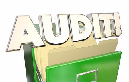 registros contables: Auditoría de Impuestos archivos contenedores registros contables 3d ilustración de la palabra