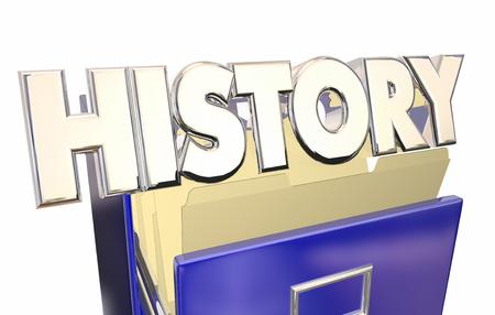 Historia 3d ilustración de la palabra del archivo de documentos del gabinete Archivo de papeles viejos Foto de archivo