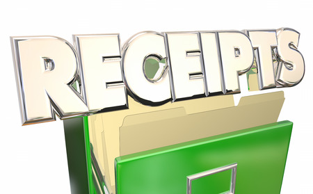 Receipts 3d Illustration Word File Cabinet Expense Report Purchases Proof
