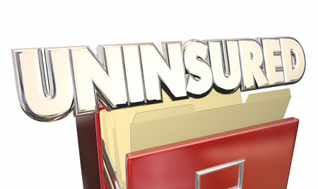 medical cabinet: Uninsured Medical Insurance Coverage Policy File Cabinet 3d Illustration Word