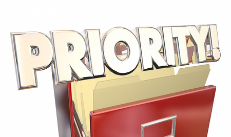 important: Priority 3d Word Illustration Filing Cabinet Top Most Important Documents Stock Photo