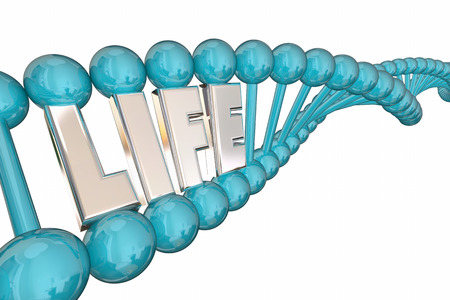 Life Word Health Care Medical Research DNA Strand 3d Illustration