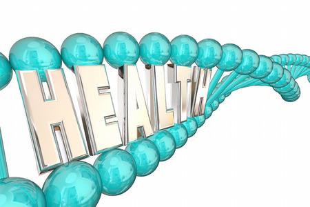 Health DNA Word Letters Bio Medica Research 3d Illustration 版權商用圖片