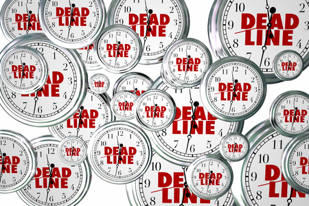 due date: Deadline Due Dates Clocks Flying Urgent Words 3d Illustration