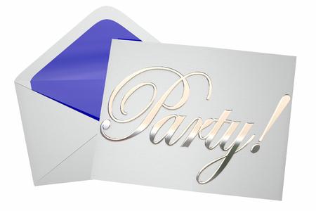 Viering van de Partij Event Uitnodiging Word 3d Illustratie