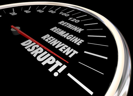 Disrupt Rethink Reimagine Reinvent Speedometer Words Change 3d Illustration