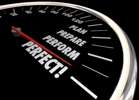 readiness: Plan Practice Perform Perfect Speedometer Words 3d Illustration