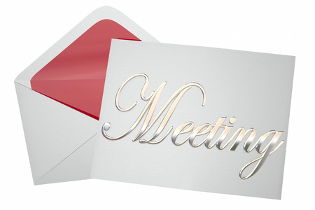 formal: Meeting Invitation Letter Envelope Discussion Word 3d Illustration