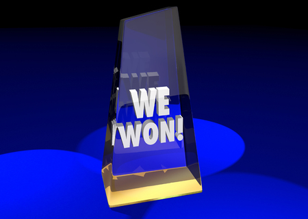 won: We Won Teamwork Together Game Prize Award Competition 3d Illustration