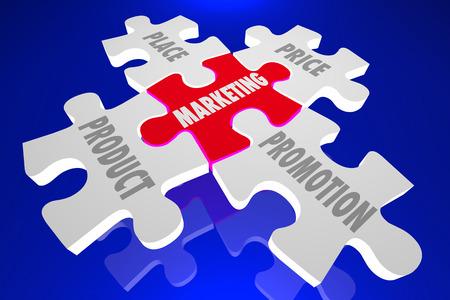 Product Marketing People Place Promotion Puzzle Pieces 3d Illustration Banque d'images - 57050898
