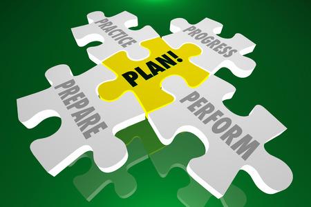getting better: Plan Practice Prepare Perform Progress Puzzle 3d Illustration Words Pieces