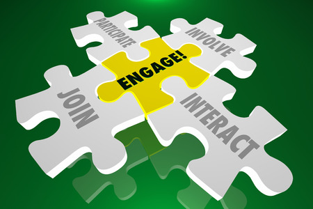 engaging: Engage Join Participate Involve Interact Puzzle Pieces 3d Illustration Words