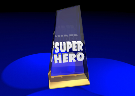 top animated: Super Hero Prize Award Winner Words 3d Illustration