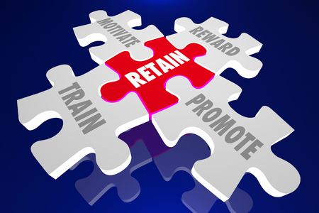 top animated: Retain Employees Train Motivate Reward Promote Puzzle Pieces 3d Illustration Words Stock Photo