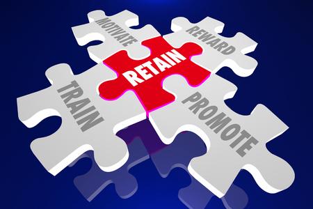 retained: Retener a los empleados de tren Motiva Recompensa Promover Pedazos del rompecabezas Palabras 3d ilustración