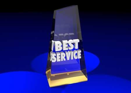 reviewed: Best Service Award Top Rated Reviewed Business Product 3d Illustration