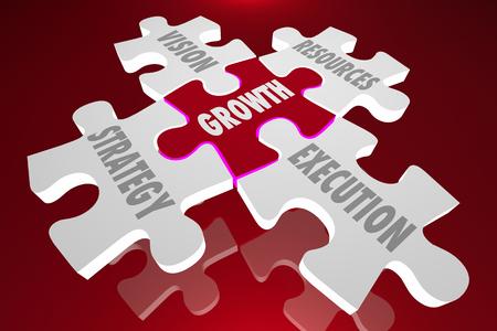 성장 비전 전략 실행 퍼즐 조각 단어 3d 일러스트 레이션 스톡 콘텐츠
