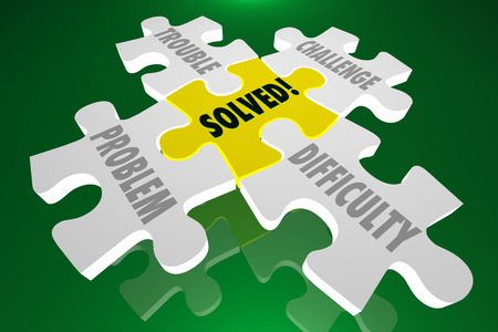 solved: Solved Solution Trouble Problem Challenge Difficulty Puzzle Stock Photo